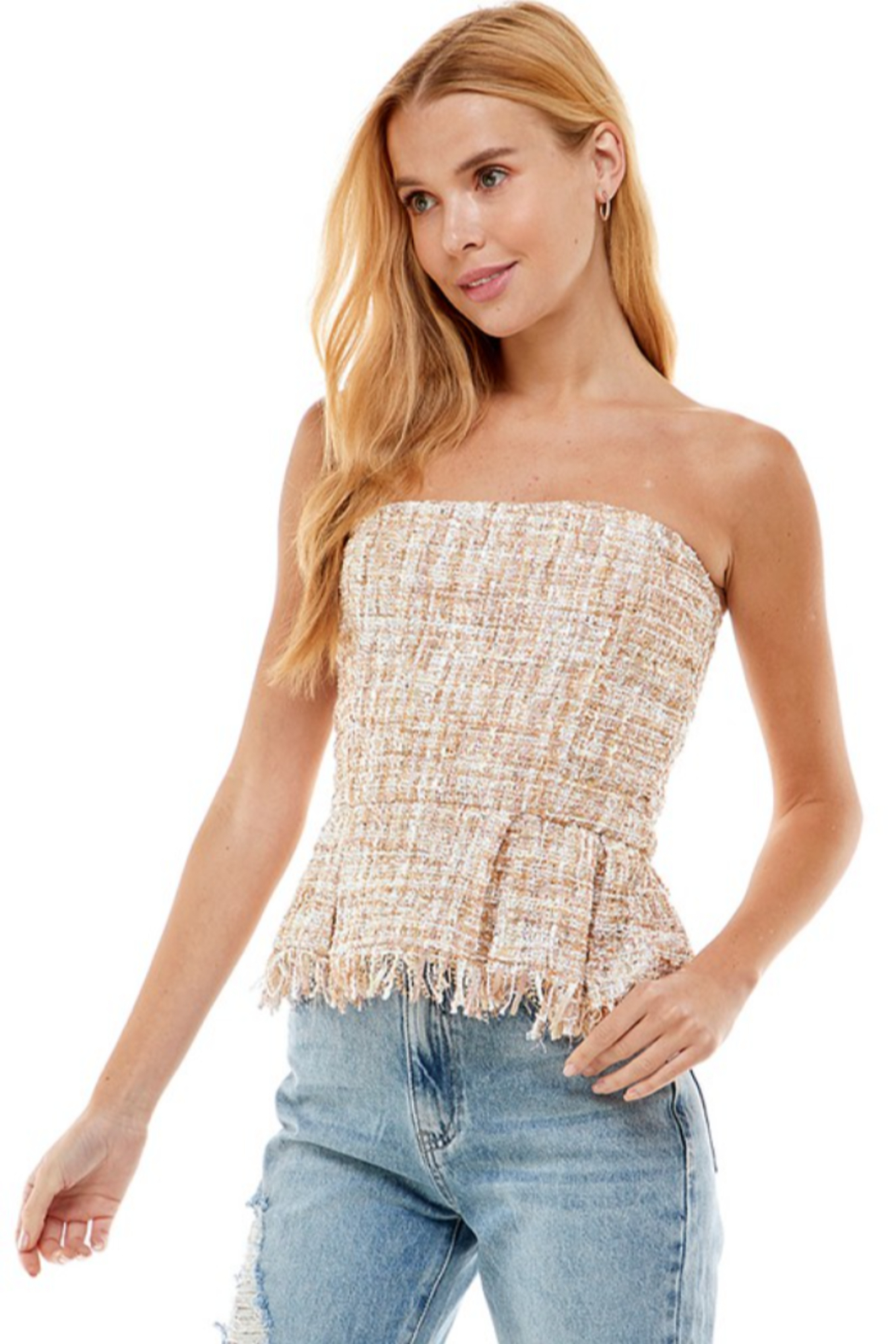 On Twelfth Boucle Peplum Top - Side Cropped Image