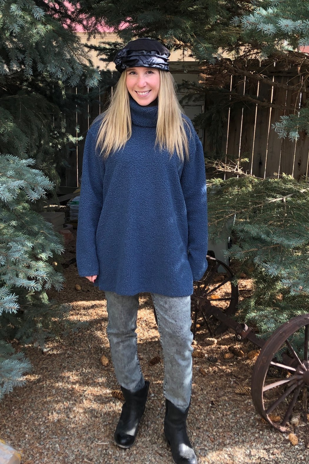 GG Jeans Boucle Turtleneck Tunic - Front Full Image