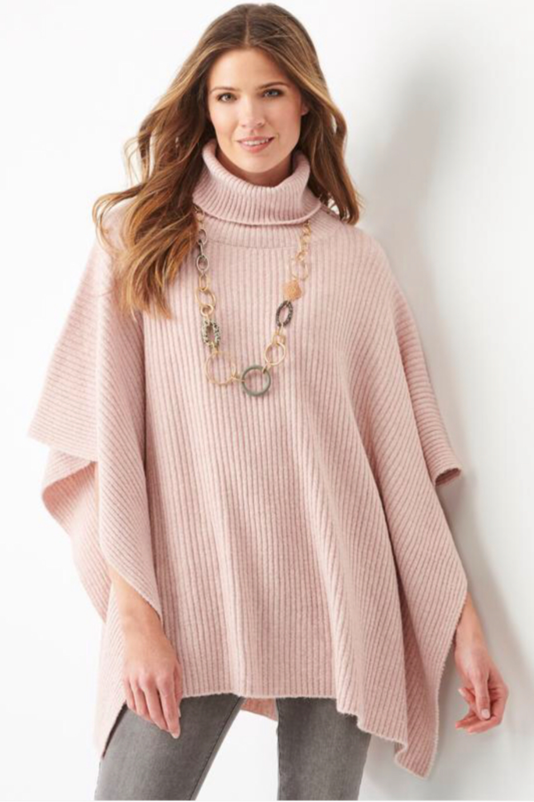 Charlie Paige  Boucle yarn Poncho - Front Cropped Image