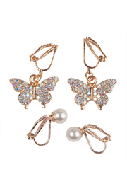Great Pretenders  Boutique Butterfly Clip On Earrings Set - Front cropped