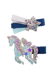 Great Pretenders  Boutique Navy Unicorn Star Hair Clip - Product Mini Image