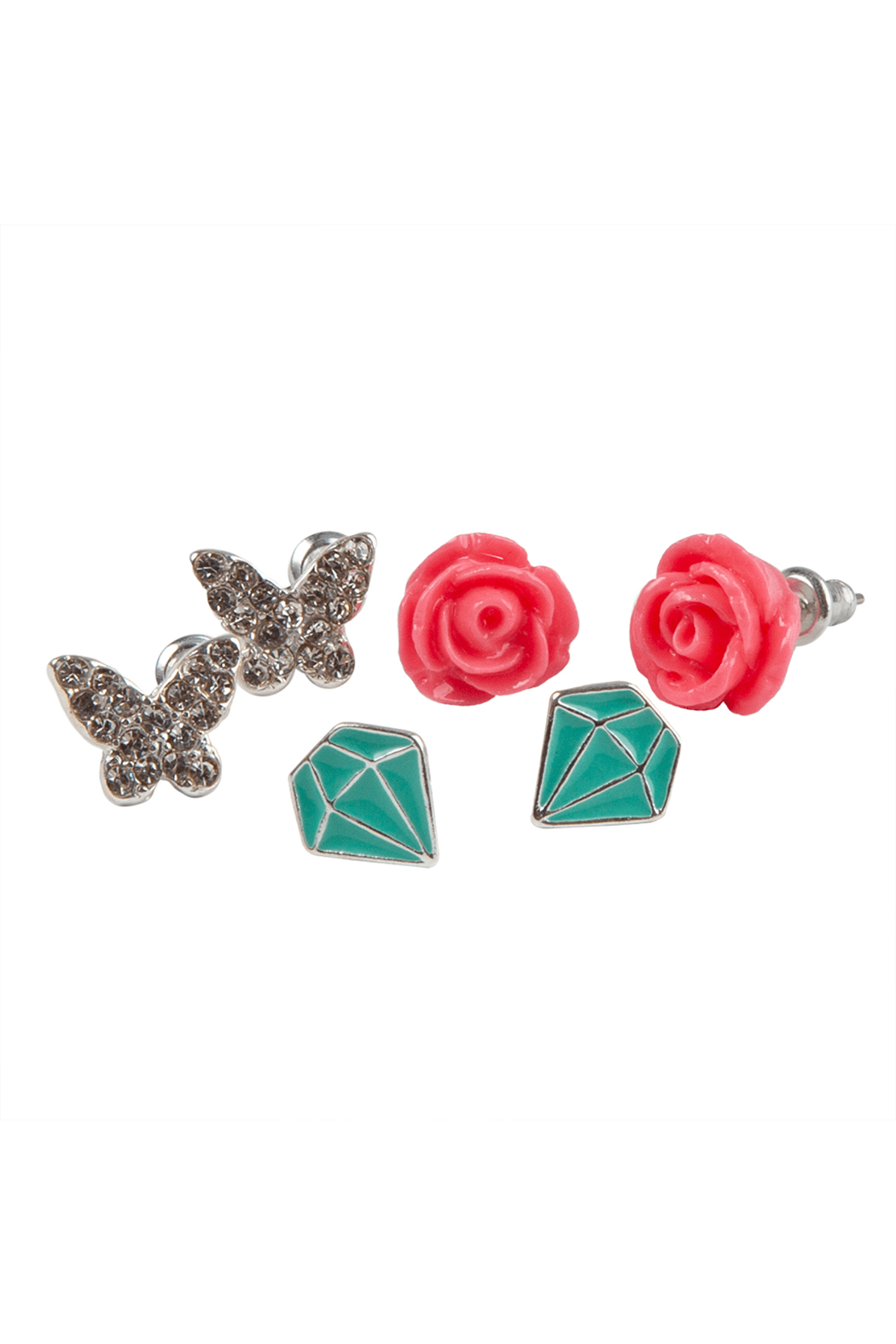 Great Pretenders  Boutique Rose Studded Earrings Set - Front Full Image