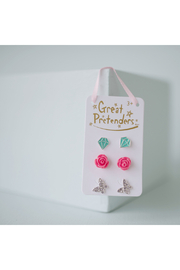 Great Pretenders  Boutique Rose Studded Earrings Set - Front cropped