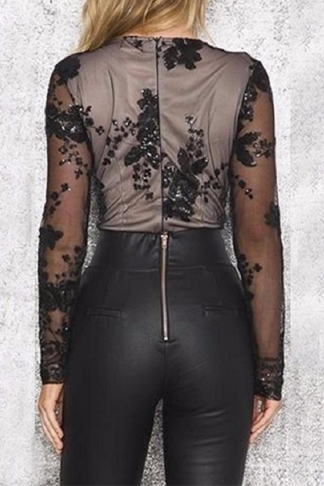 Boutique Sequin Plunge Bodysuit - Back Cropped Image