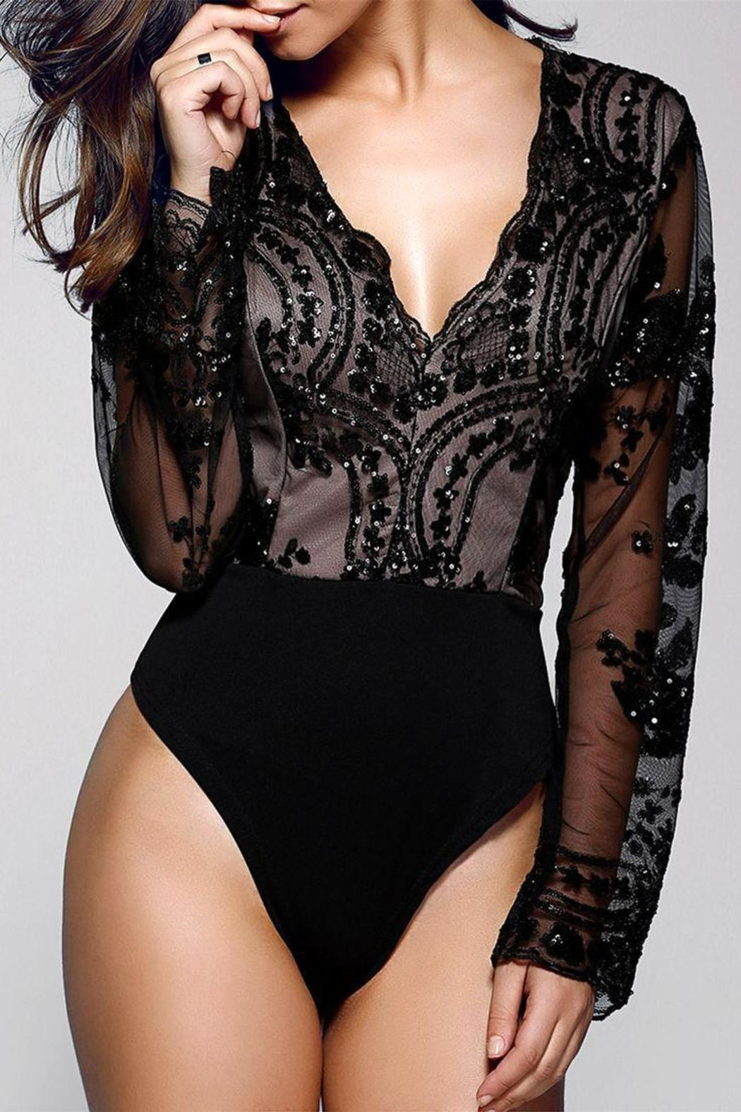 Boutique Sequin Plunge Bodysuit - Front Cropped Image