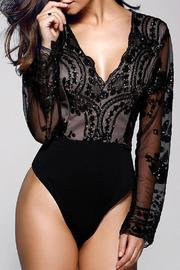 Boutique Sequin Plunge Bodysuit - Front cropped