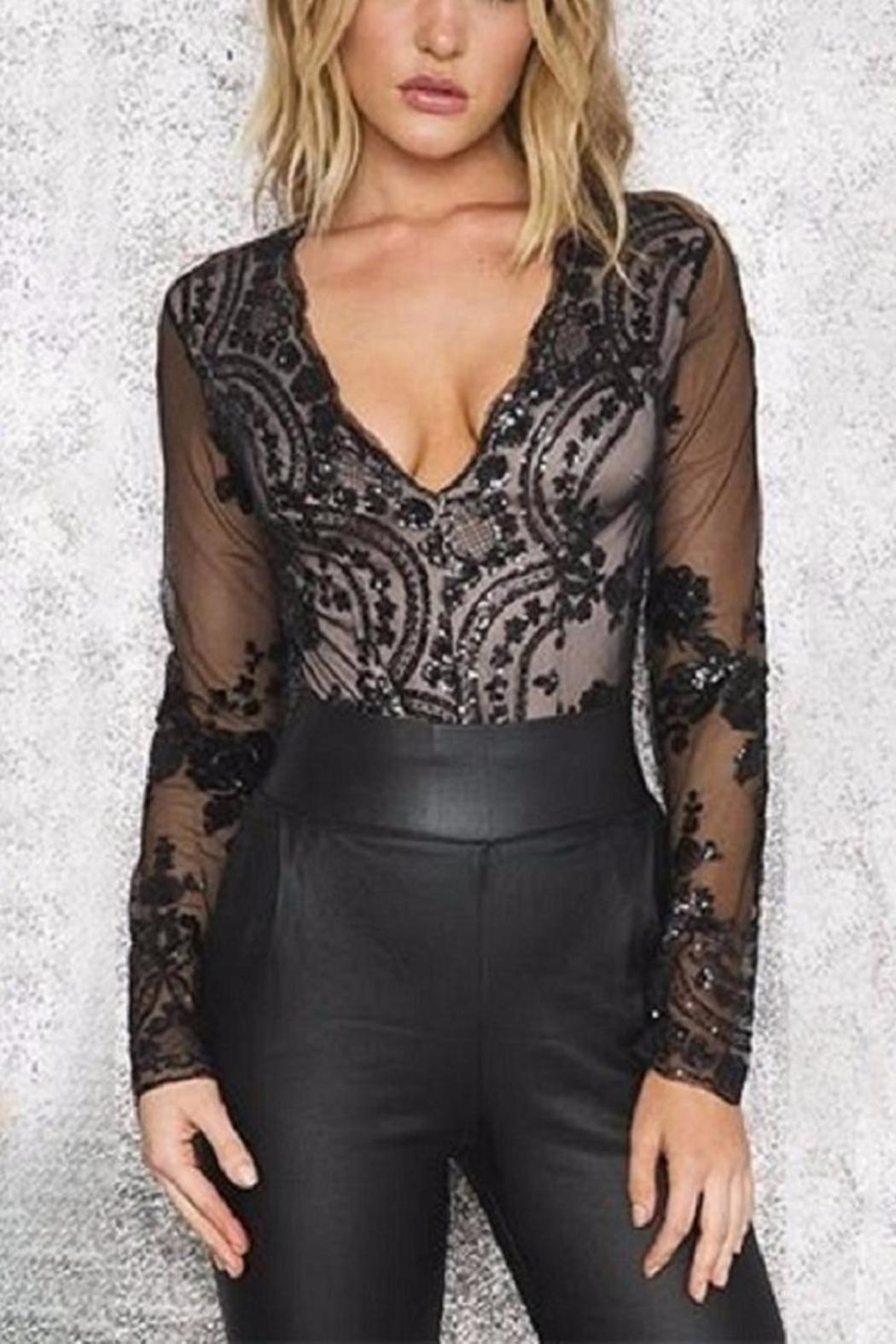 Boutique Sequin Plunge Bodysuit - Front Full Image