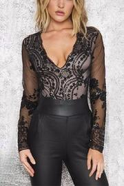 Boutique Sequin Plunge Bodysuit - Front full body
