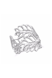 Boutique Collection Sterling-Silver Leaves Ring - Front cropped