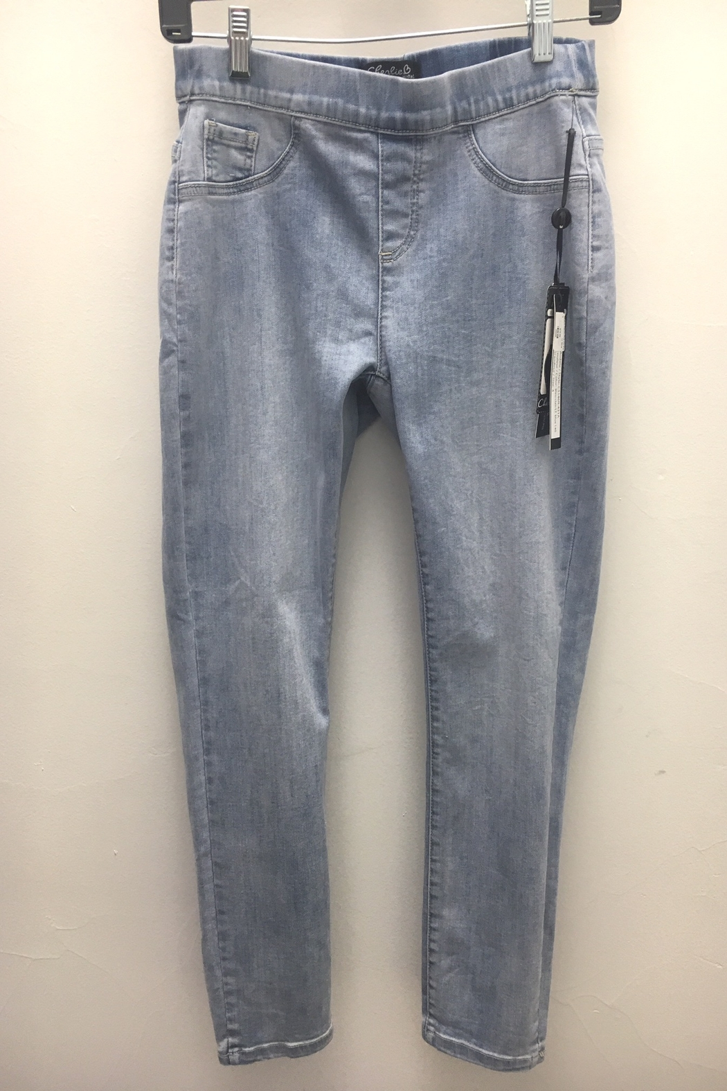 Charlie B. Bow Back Stretch Denim Jeans - Front Full Image