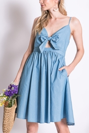 Lyn -Maree's Bow Detail Chambray Cami Dress - Product Mini Image