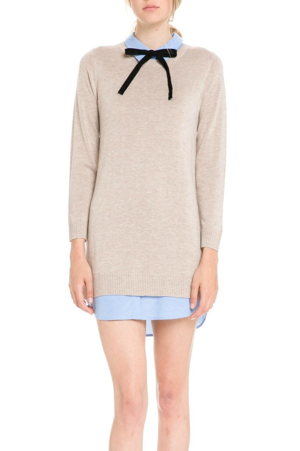 English Factory Bow Detail Sweater Dress - Front Cropped Image