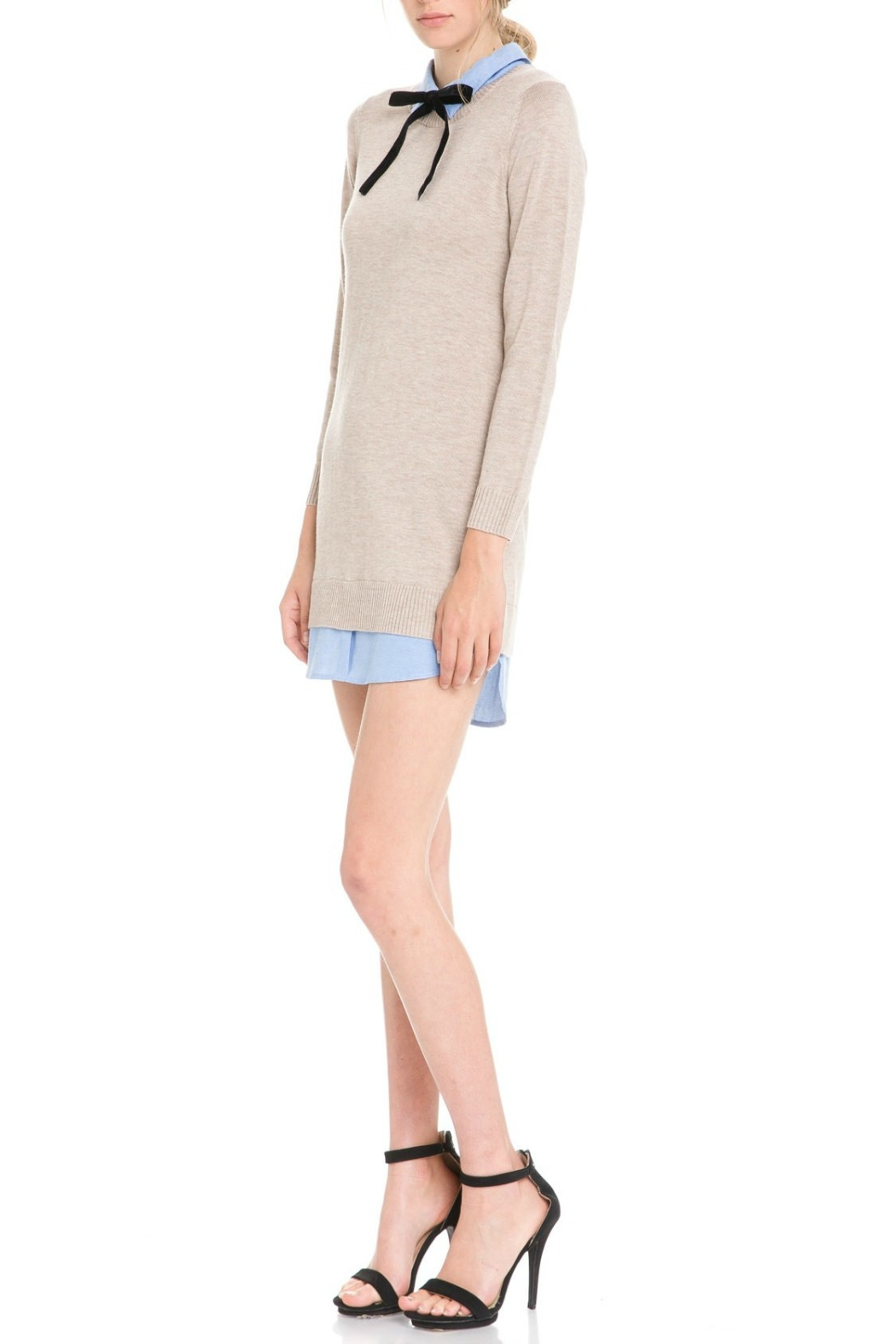 English Factory Bow Detail Sweater Dress - Front Full Image