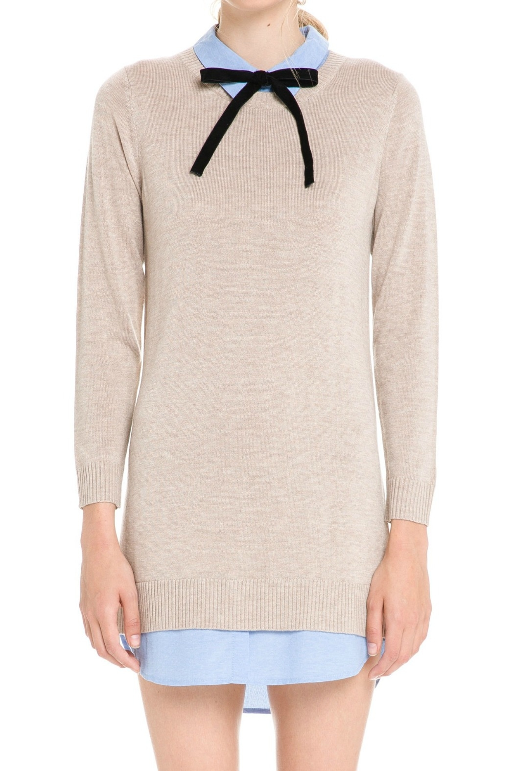 English Factory Bow Detail Sweater Dress - Back Cropped Image