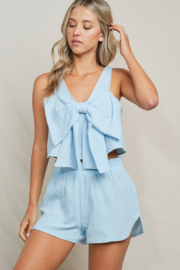 Maronie  Bow Front Crop Top - Front full body