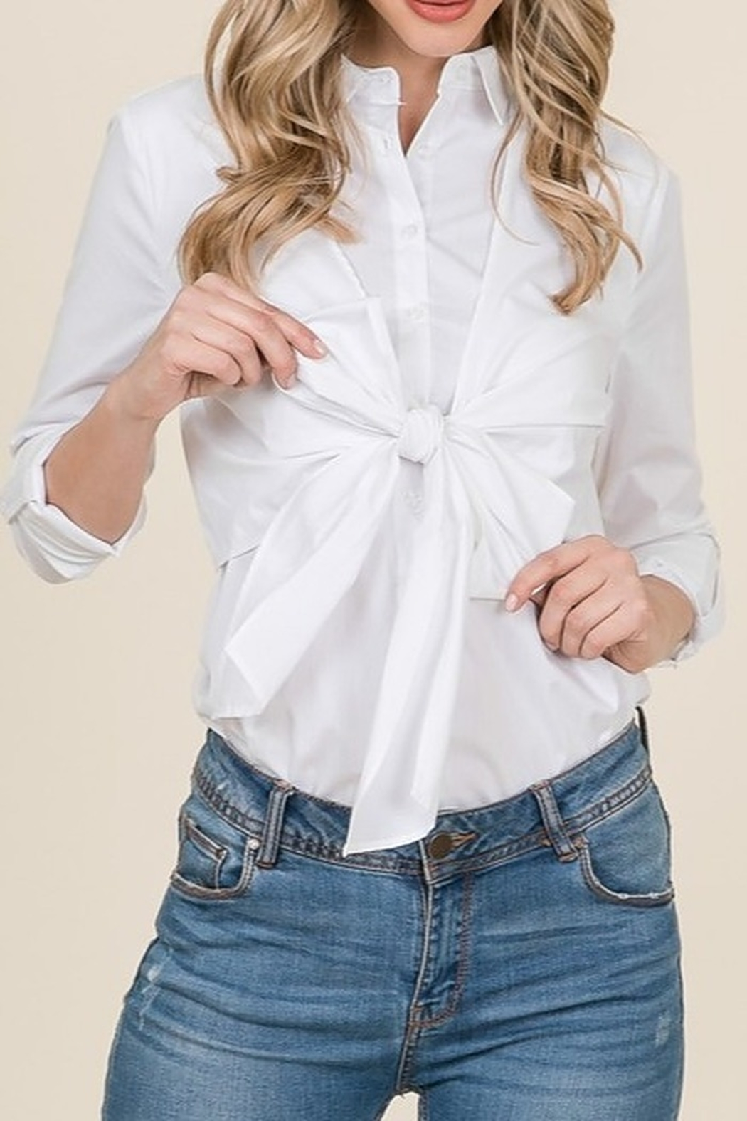 Lumiere Bow Front Shirt - Side Cropped Image