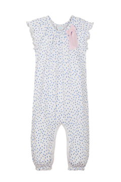 Feather Baby Bow Romper Pintas Blue on White - Product List Image