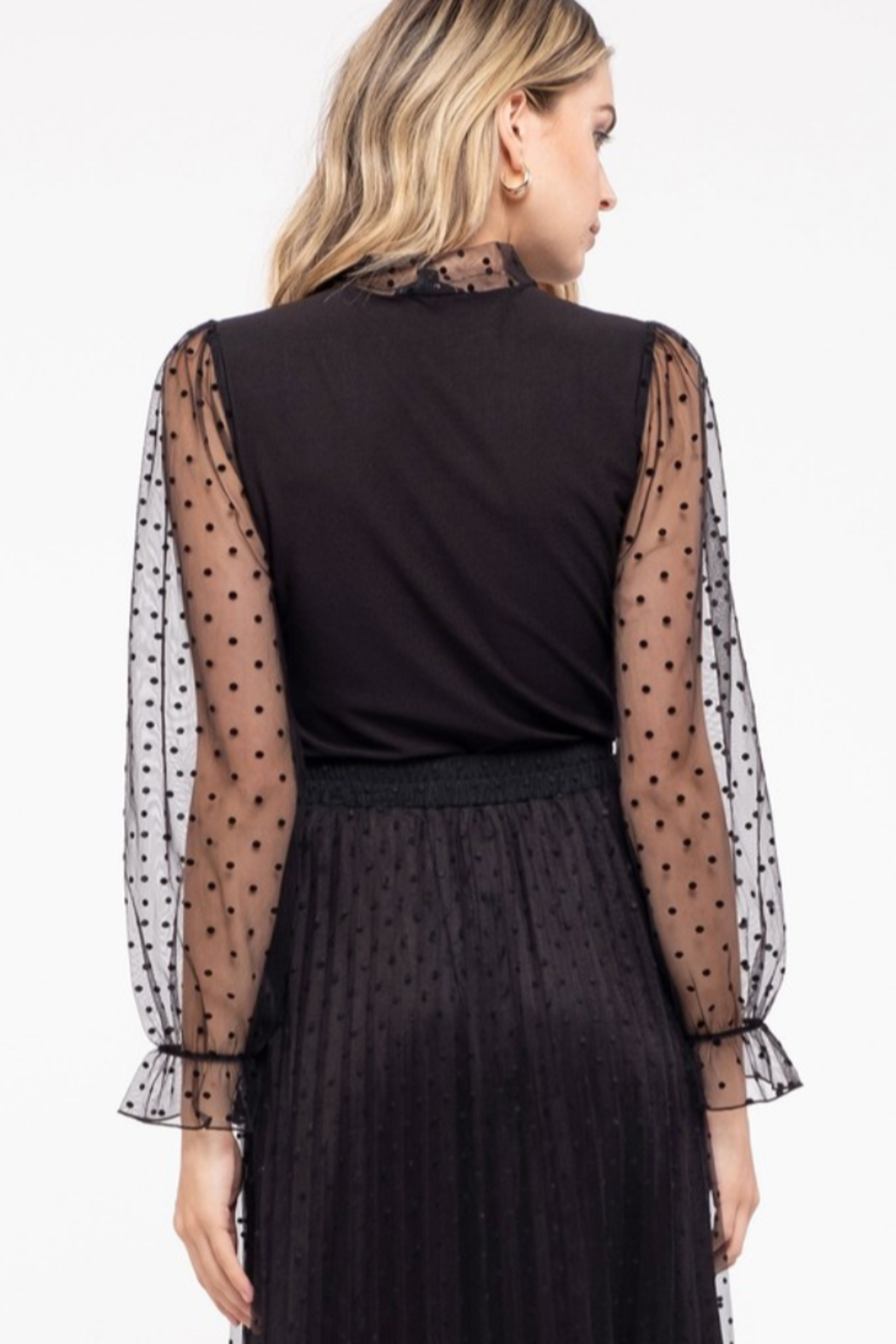 Mine and E&M BOW TIE NECK MESH LACE COMBINATION KNIT TOP - Front Full Image
