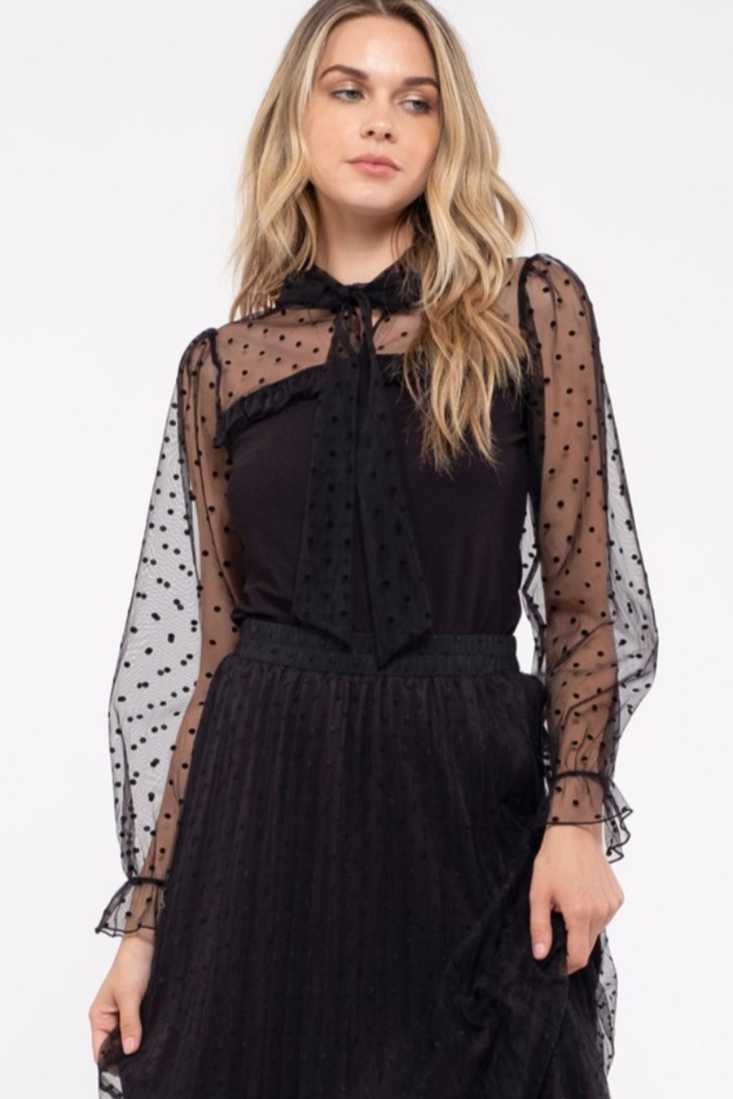 Mine and E&M BOW TIE NECK MESH LACE COMBINATION KNIT TOP - Main Image