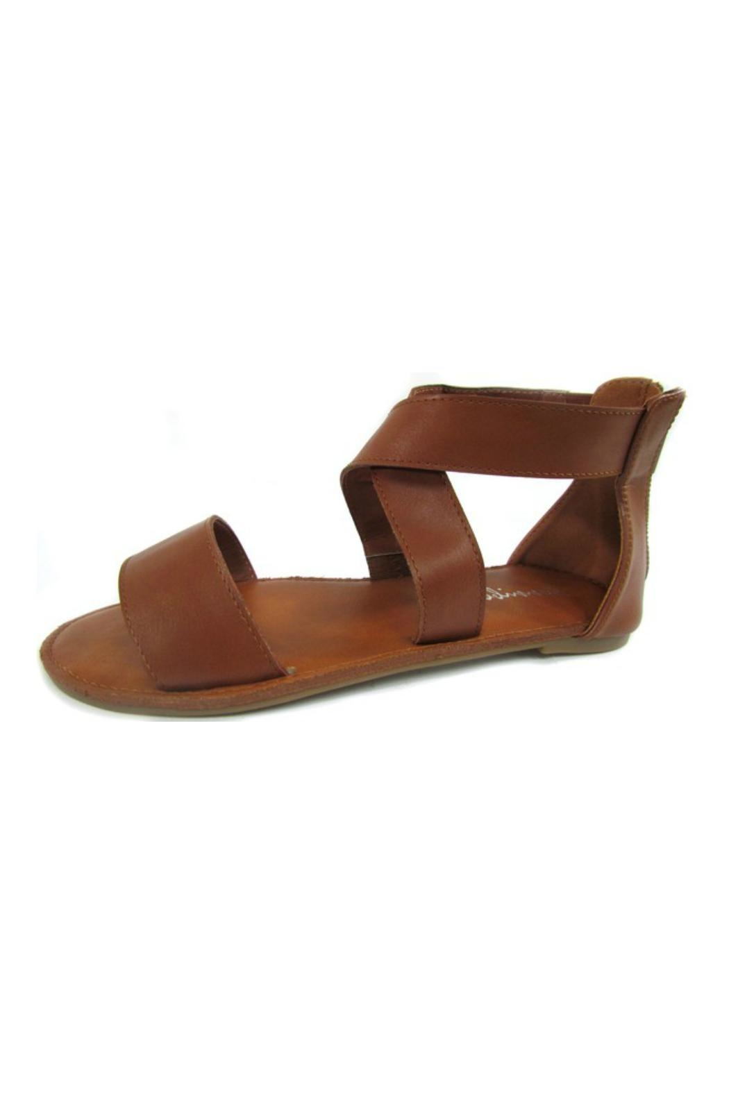 Bowie Accessories Brown Cross Strap Sandal - Front Cropped Image