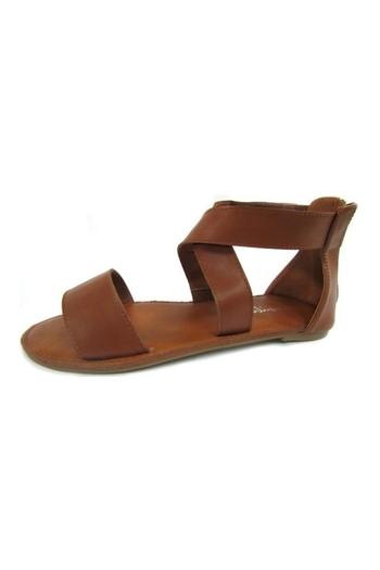 Bowie Accessories Brown Cross Strap Sandal - Main Image