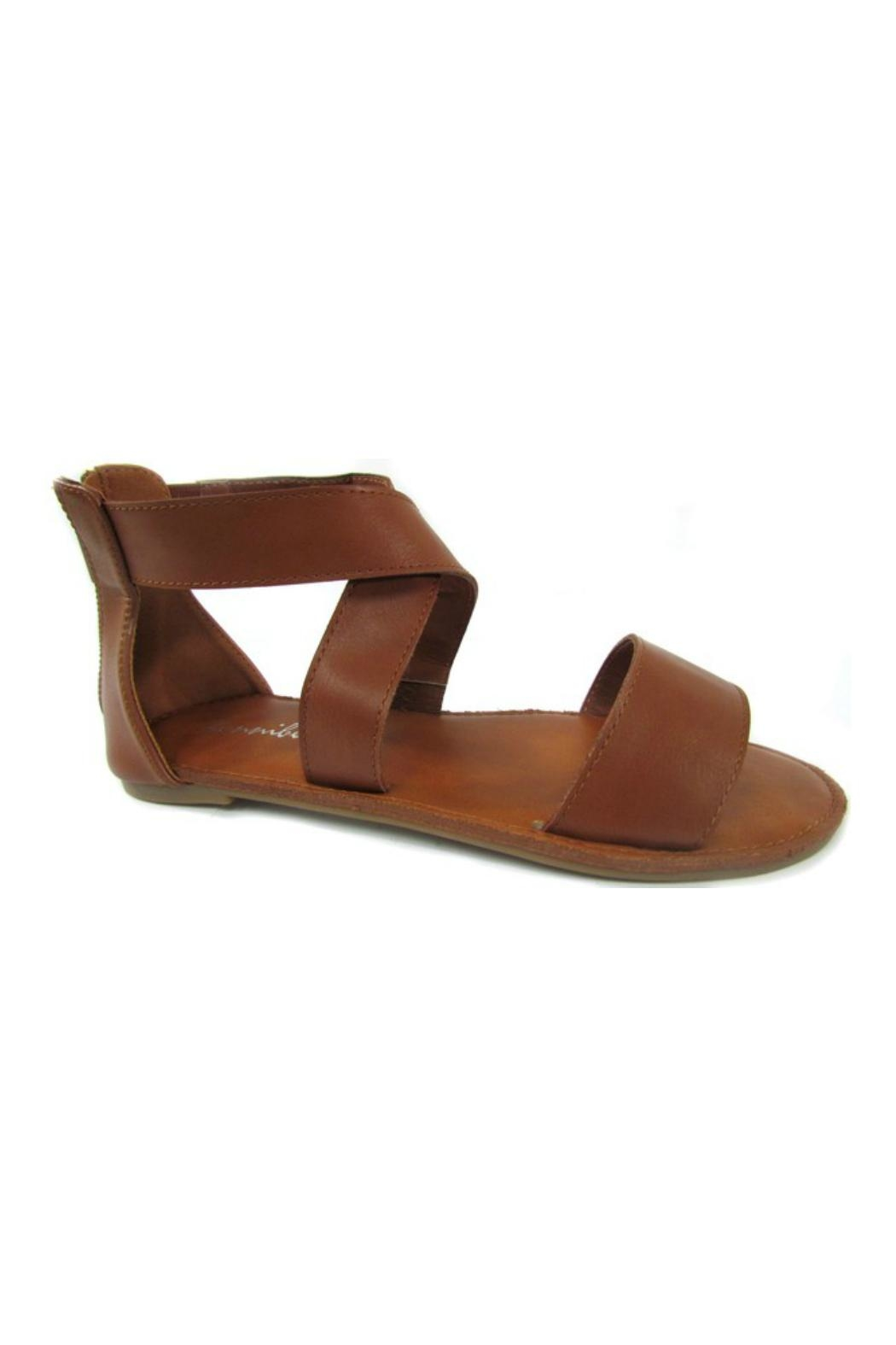 Bowie Accessories Brown Cross Strap Sandal - Front Full Image