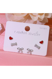 Silver Jewels Bows & Hearts Silver Stud Earring Set - Product Mini Image
