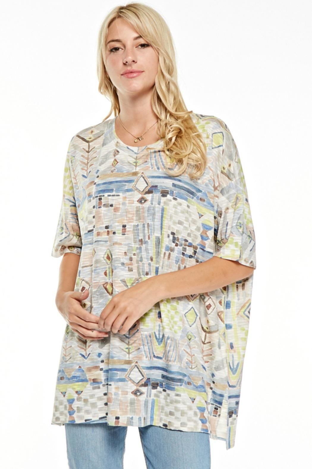 Inoah Boxy Abstract Tunic - Front Cropped Image