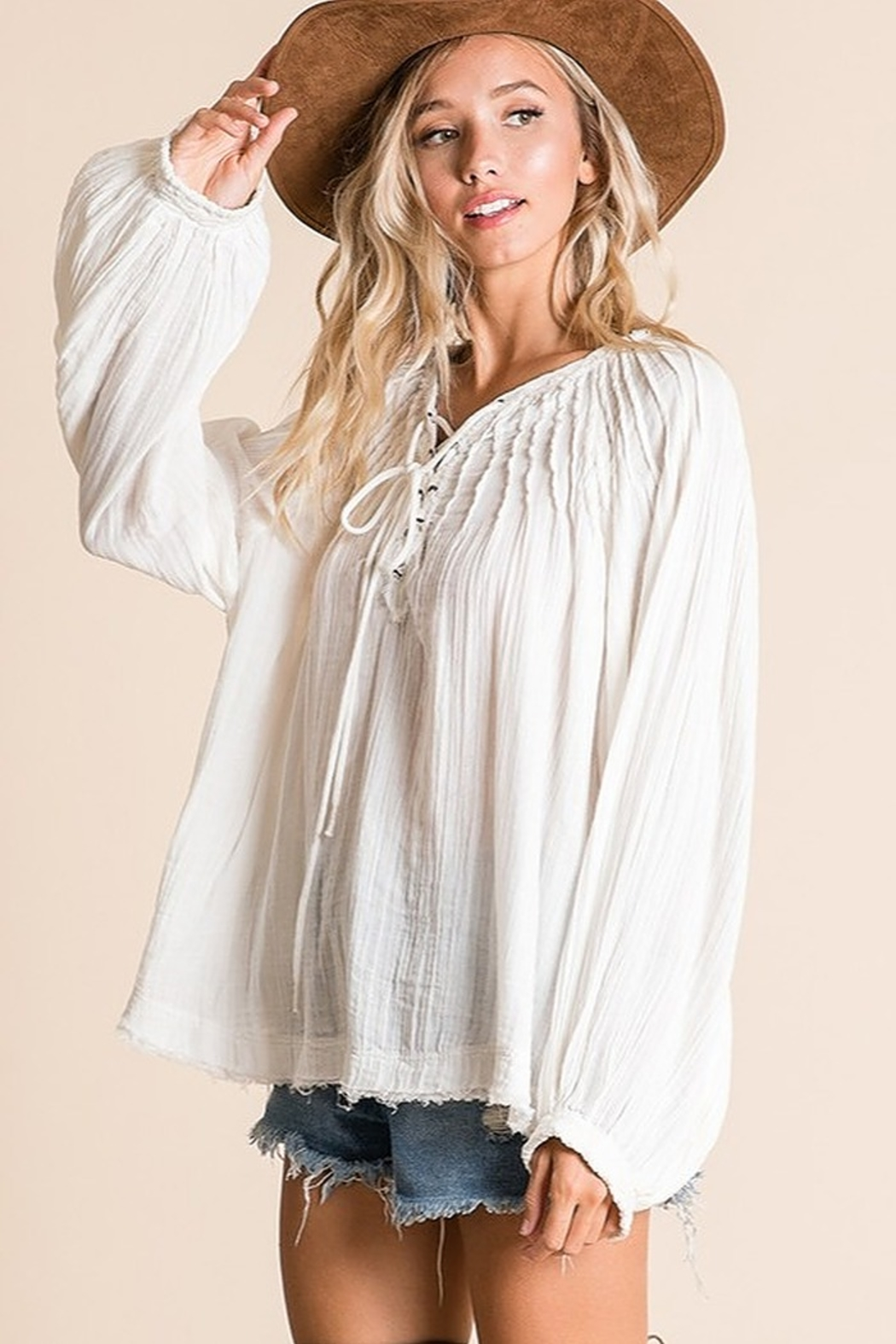 Ces Femme  Boxy Blouse Top - Front Full Image