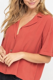 Lush Clothing  Boxy Button-Down Top - Front cropped