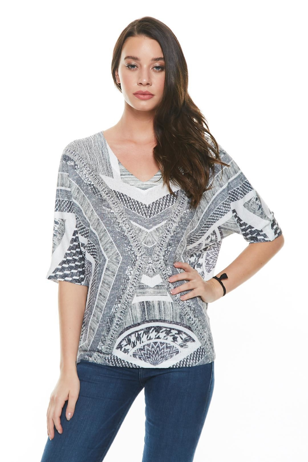 Inoah Boxy Mosaic Top - Front Cropped Image