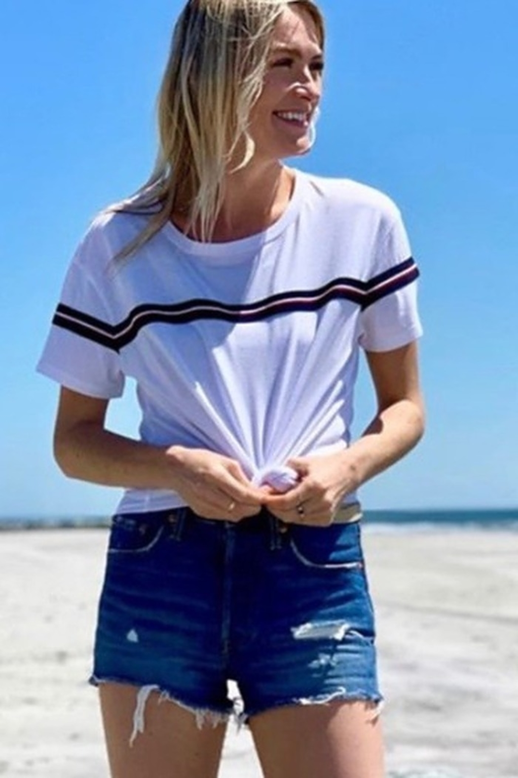 Six Fifty Boxy Stripe TShirt - Front Cropped Image