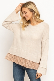 Hem & Thread Boxy Sweater with Shirt Tail Detail - Product Mini Image