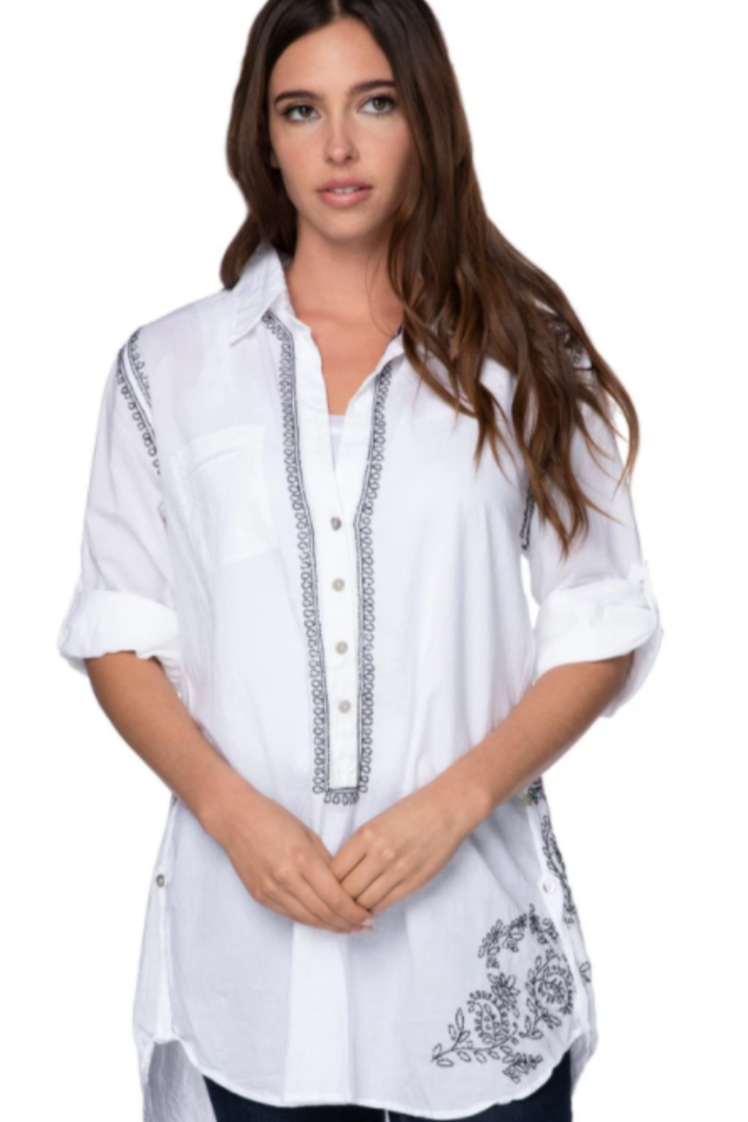 subtle luxury Boyfriend Shirt in White/Noir OR White/Pink - Front Cropped Image