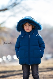 PRAMIE Boys and Girls' Down Filled-Quilted Hooded Jacket Genuine Fur-Trimmed (Unisex) - Front cropped