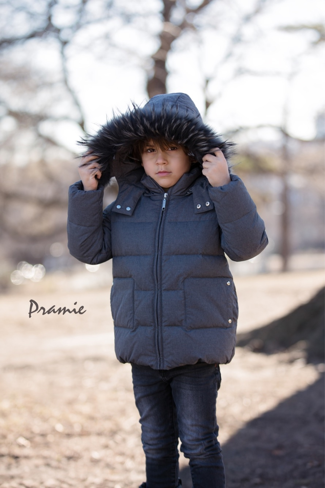 PRAMIE Boys and Girls' Down Filled-Quilted Hooded Jacket Genuine Fur-Trimmed (Unisex) - Front Full Image