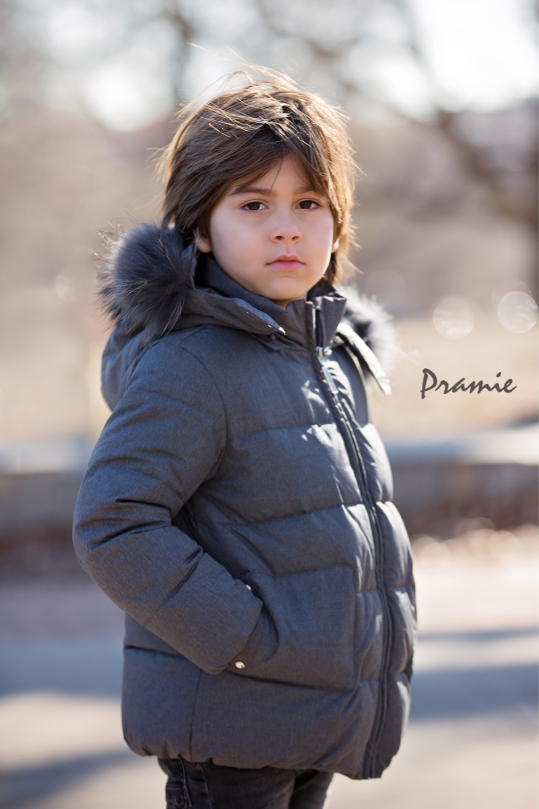 PRAMIE Boys and Girls' Down Filled-Quilted Hooded Jacket Genuine Fur-Trimmed (Unisex) - Main Image