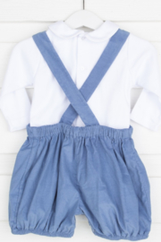 Remember Nguyen Boys Blue Corduroy Short Set - Front full body