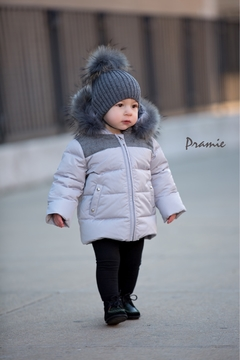 Shoptiques Product: Boys Down Filled-Quilted Hooded Jacket Genuine Fur-Trimmed