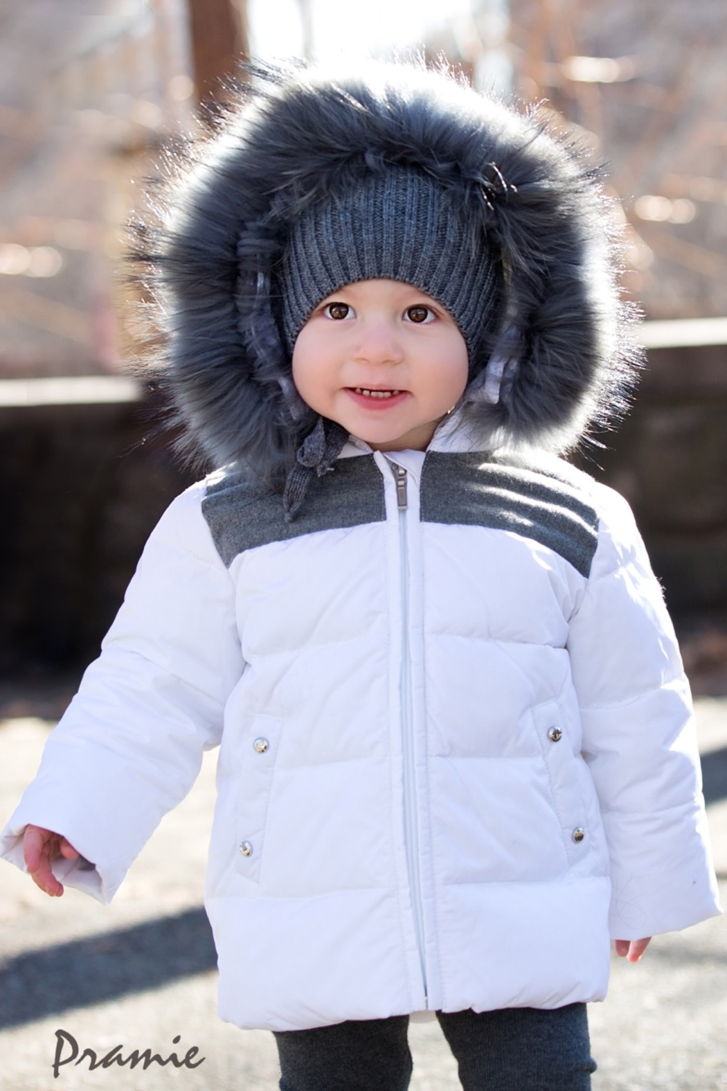PRAMIE Boys Down Filled-Quilted Hooded Jacket Genuine Fur-Trimmed - Front Cropped Image