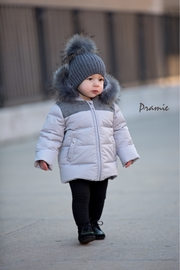 PRAMIE Boys Down Filled-Quilted Hooded Jacket Genuine Fur-Trimmed - Front cropped