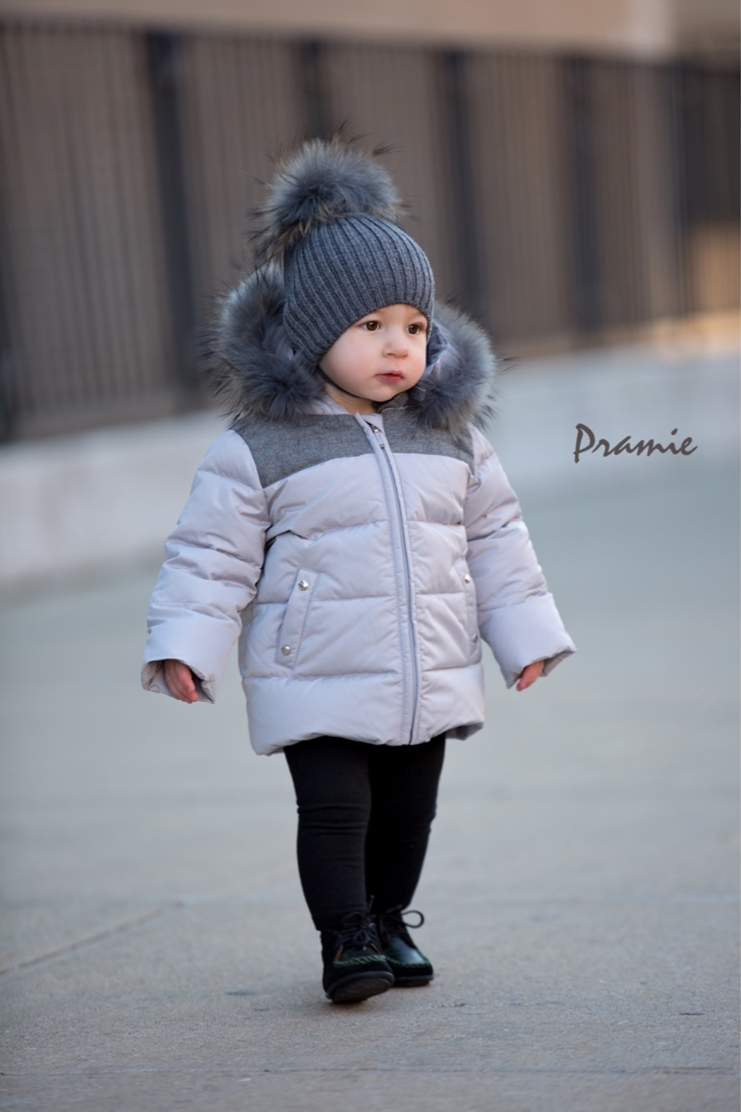 PRAMIE Boys Down Filled-Quilted Hooded Jacket Genuine Fur-Trimmed - Main Image