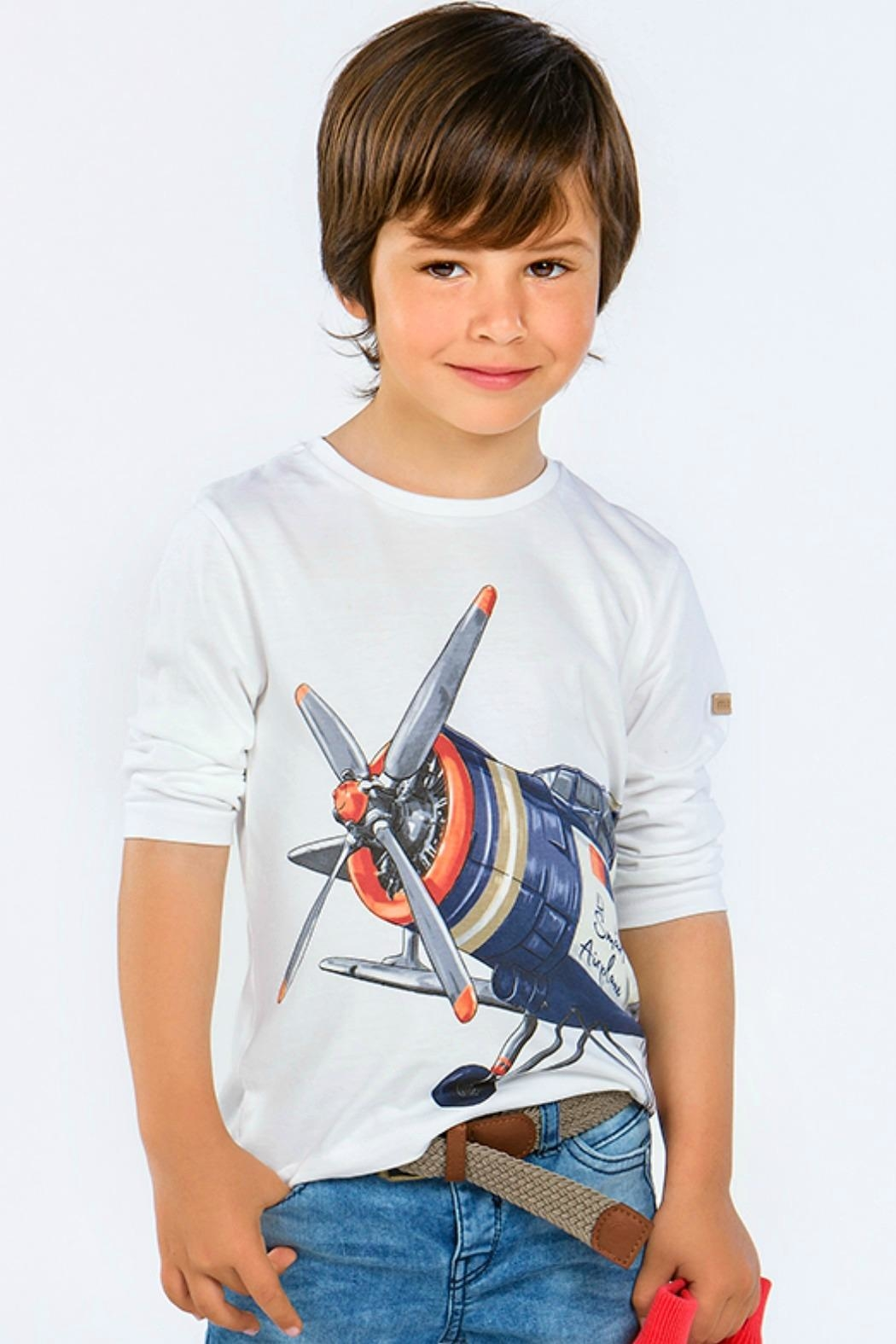 Mayoral Boys-Long-Sleeve-Airplane-Shirt - Front Cropped Image
