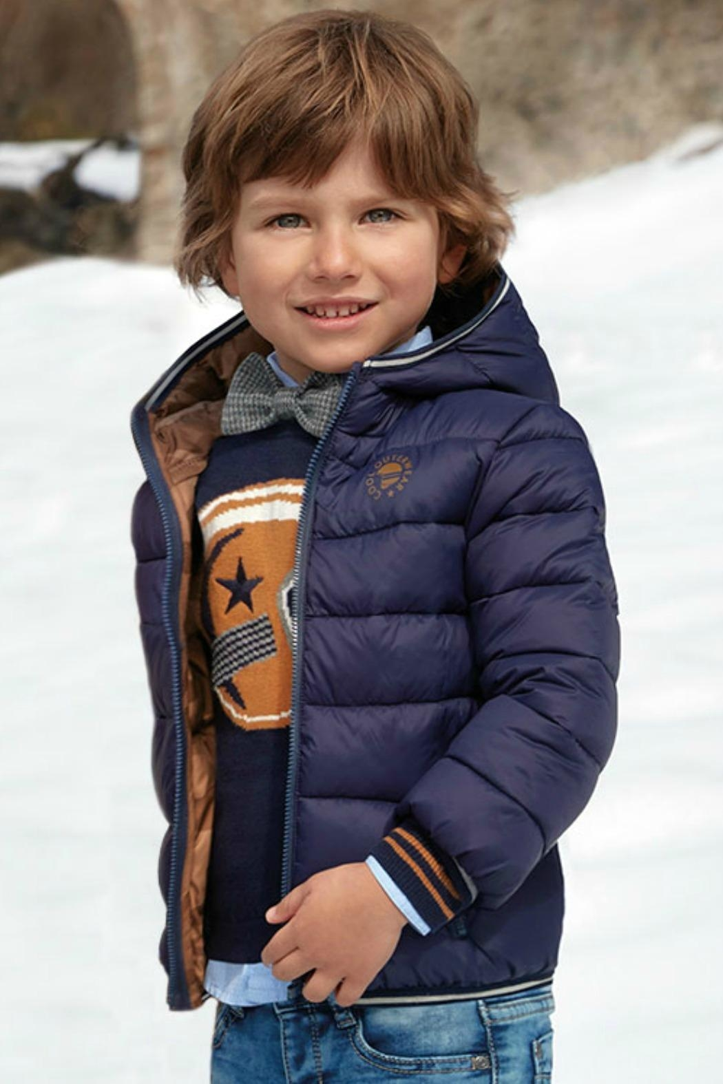 Mayoral Boys-Navy-Jacket-With-Hood - Front Cropped Image