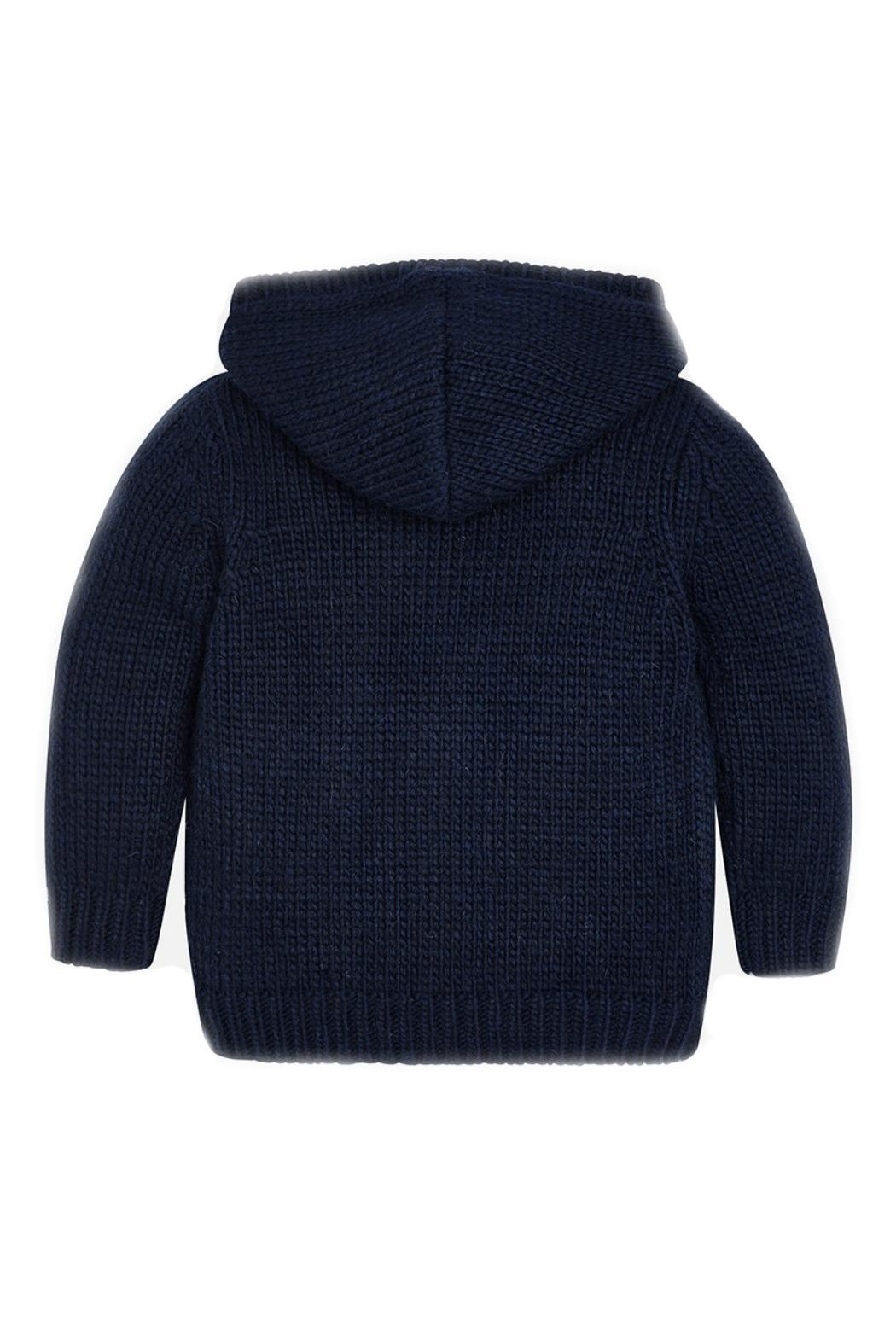 Mayoral Boys-Navy-Knit-Toggle-Cardigan-With-Hood - Front Full Image