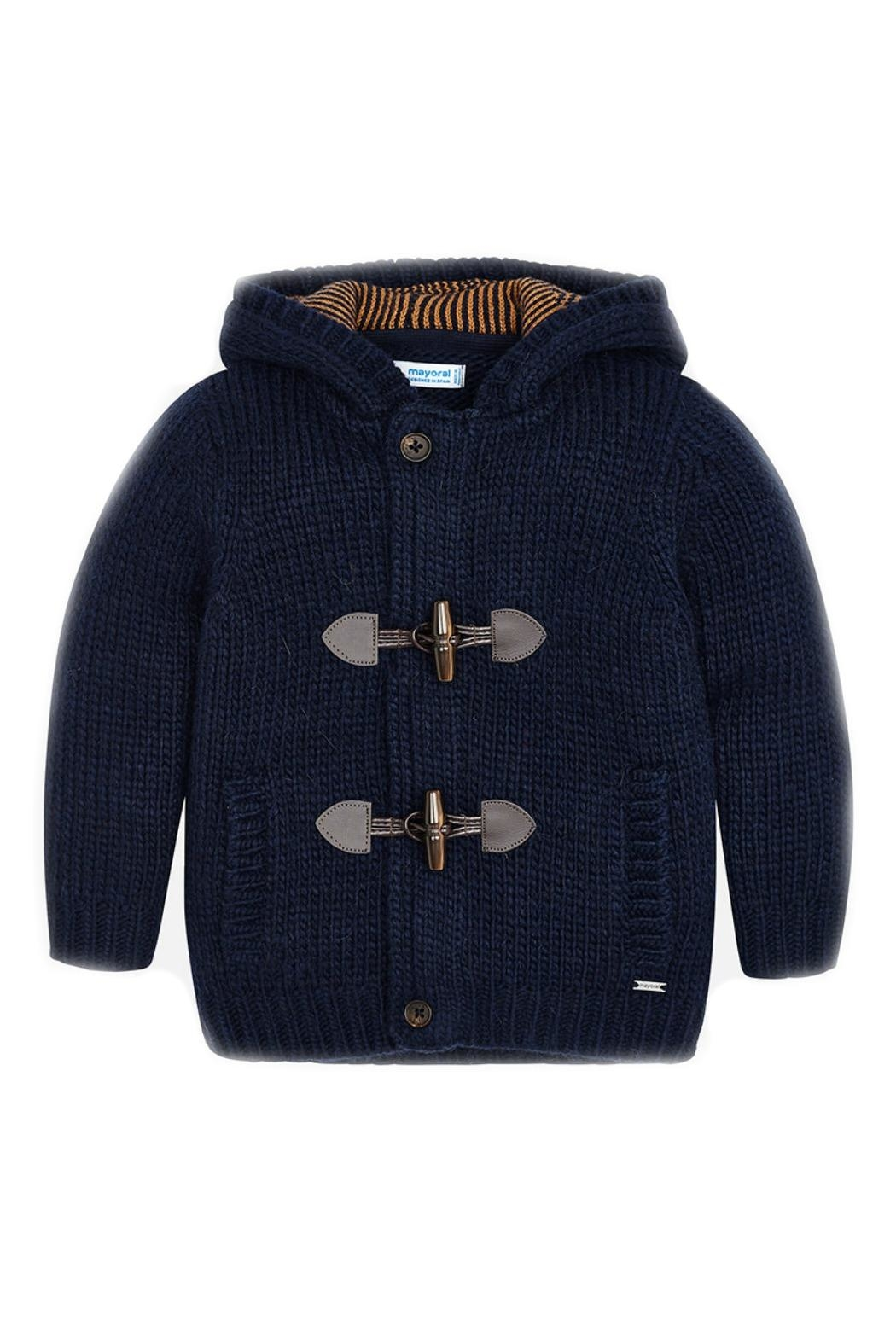 Mayoral Boys-Navy-Knit-Toggle-Cardigan-With-Hood - Main Image