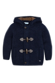 Mayoral Boys-Navy-Knit-Toggle-Cardigan-With-Hood - Front cropped
