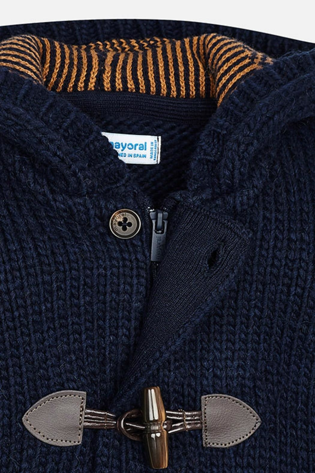Mayoral Boys-Navy-Knit-Toggle-Cardigan-With-Hood - Side Cropped Image