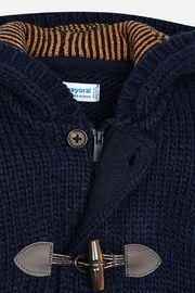 Mayoral Boys-Navy-Knit-Toggle-Cardigan-With-Hood - Side cropped