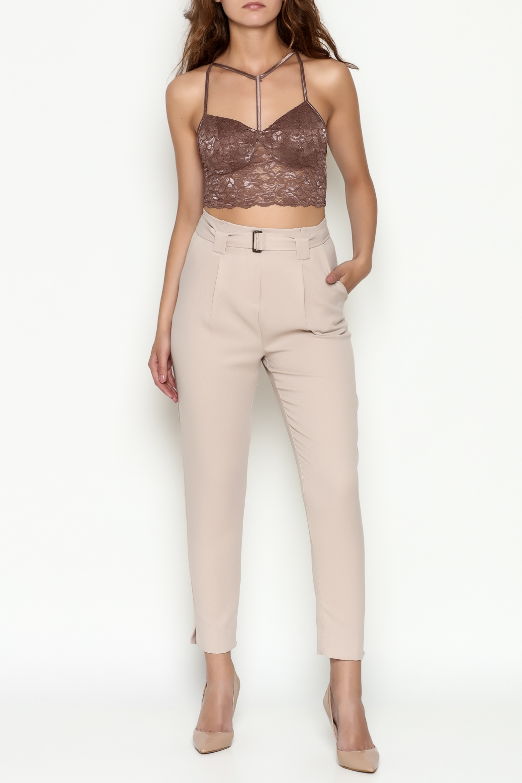 Bozzolo Lace Strap Bralette - Side Cropped Image
